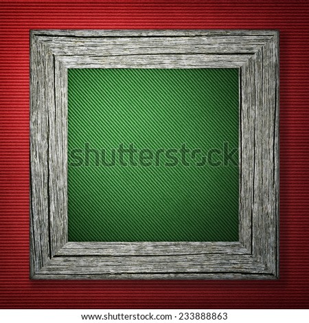 Red striped background with wooden frame - stock photo