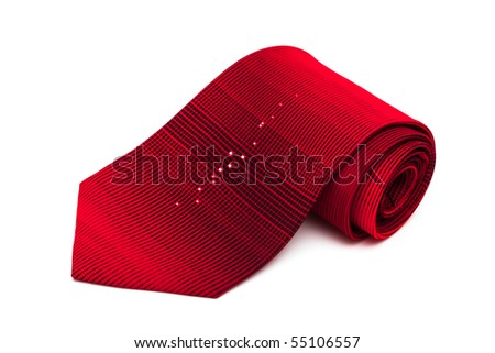red striped necktie on a white background - stock photo