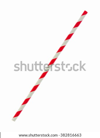 Red striped paper straw isolated on white background (Clipping Paths Included) - stock photo