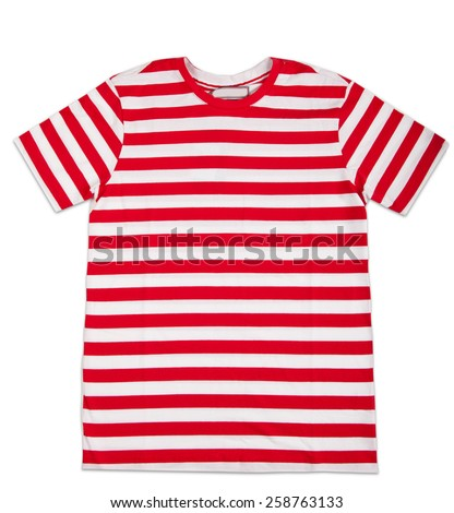 Red stripes tshirt template isolated on white. T-shirt template ready for your own graphics - stock photo