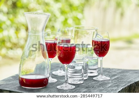 Red stum in glass on the barrel  - stock photo