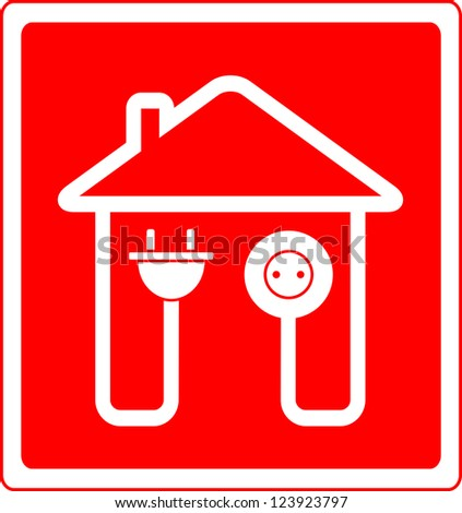 red style electrical symbol with AC outlet and plug - stock photo