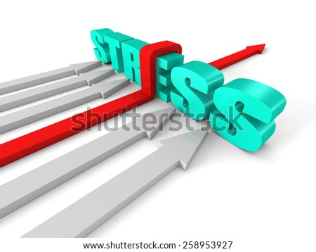 Red Success Arrow Overcoming STRESS Word Barrier. Concept 3d Render Illustration - stock photo