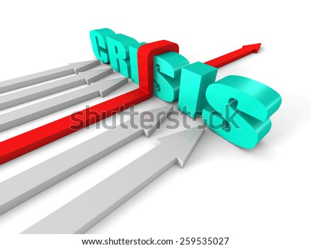 Red Successful Arrow Overcoming CRISIS Word Barrier. Success Business Concept 3d Render Illustration - stock photo