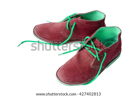 Red suede shoes leather A shoestring green A suede classic style luxury Casual suede shoes on white background - stock photo