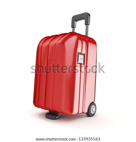 Red Suitcase isolated - stock photo