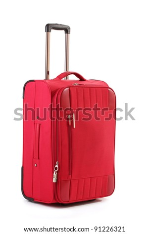 Red suitcase isolated on a white - stock photo