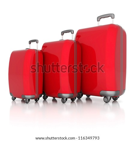 red suitcase isolated on white background - stock photo