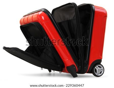 red suitcase isolated on white background - stock photo