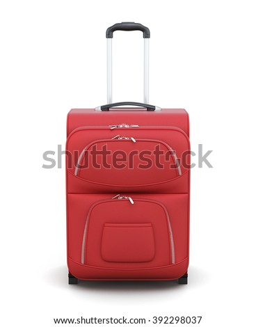 Red suitcase on wheels isolated on white background. Front view. With a retractable handle. 3d rendering. - stock photo