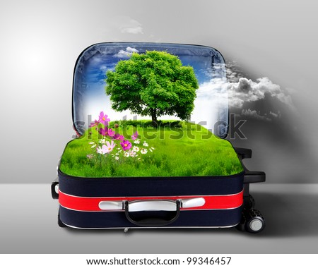Red suitcase with green nature landscape in it - stock photo