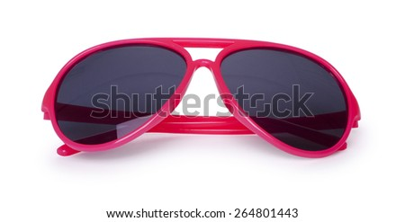 Red sun glasses isolated over the white background. - stock photo