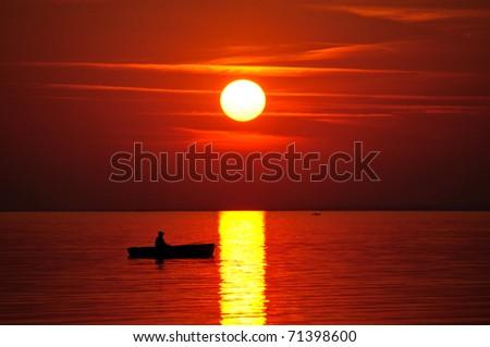 Red sunset - stock photo