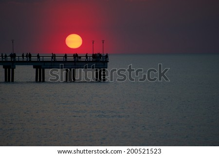 Red sunset at spring time - stock photo