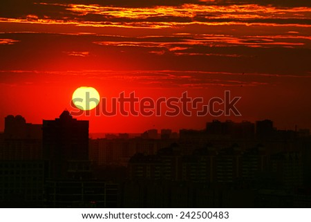 red sunset city - stock photo
