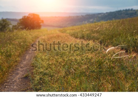 red sunset over green field with road.Road lane and deep sky. Nature design. - stock photo