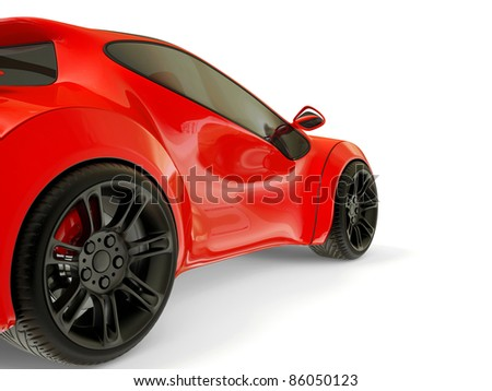 red supercar isolated on a white background - stock photo