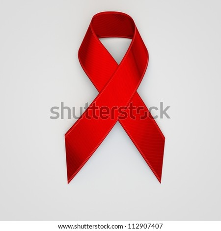 Red Support Ribbon - stock photo