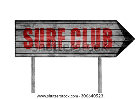 Red Surf Club wooden sign isolated on white - stock photo