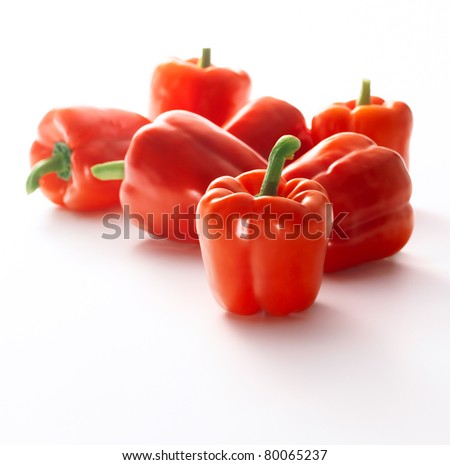 Red sweet pepper isolated on white background - stock photo