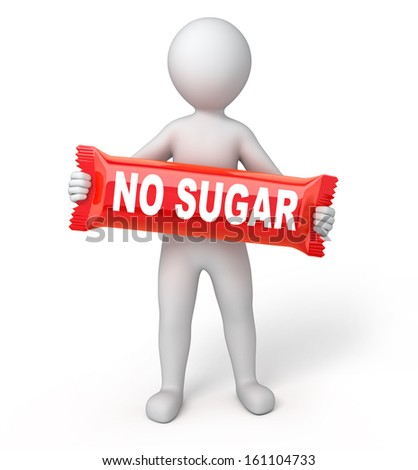 "red sweet with a title ""NO SUGAR"", 3d human and sweet. isolated on white with a work path - stock photo"