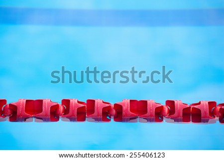 red Swimming Lane Marker in swimming pool - stock photo