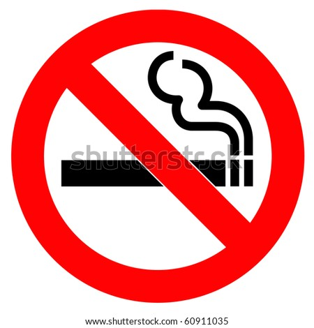 Red Symbol of no smoking zone - stock photo