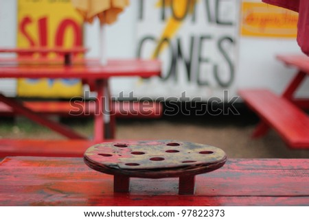 Red Table - stock photo