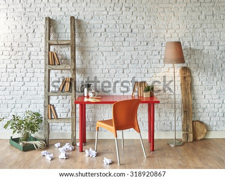 red table, orange chair interior with old stairs - stock photo