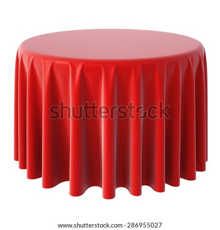 red tablecloth. isolated on white background. - stock photo