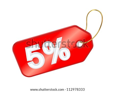Red tag 5%.Isolated on white background.3d rendered. - stock photo