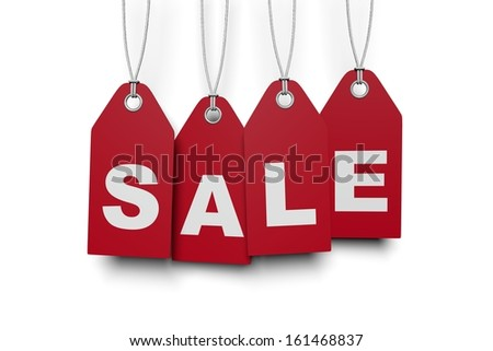 red tags SALE - stock photo