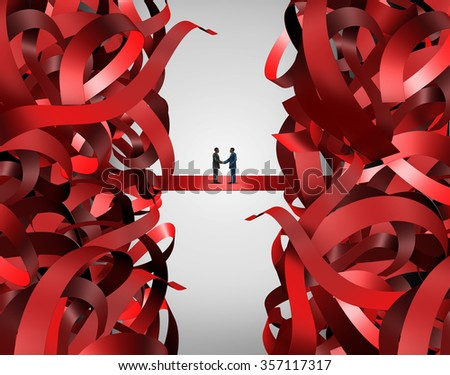 Red tape solution and bureaucratic business handshake to solve a managerial problem as a partnership deal among two businessmen shaking hands to solve a corporate or government regulatory problem. - stock photo