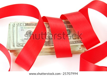 Red tape ties up financial bailout money - stock photo