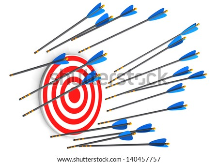 Red target with missed arrows on the white background. - stock photo