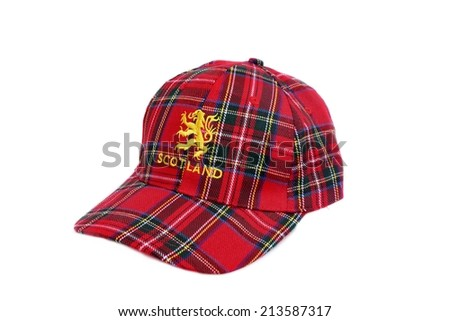 Red tartan cap with scottish arms  Isolated on White - stock photo