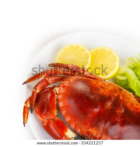 Red tasty boiled crab with fresh green lettuce salad and lemon isolated on white background, delicious seafood, luxury restaurant menu - stock photo