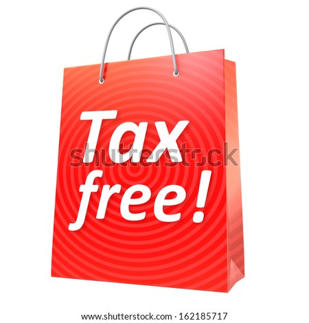 Red tax free shopping bag - stock photo