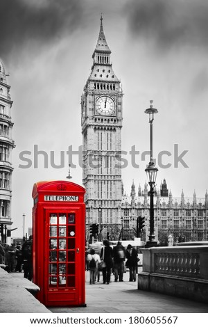 Red telephone booth and Big Ben in London, England, the UK. People walking in rush. The symbols of London in black on white. - stock photo