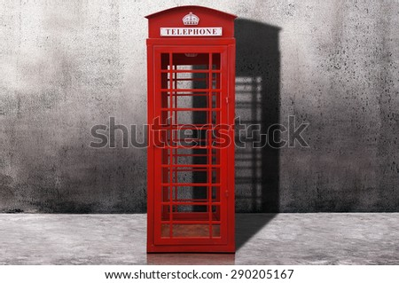 Red telephone box - stock photo