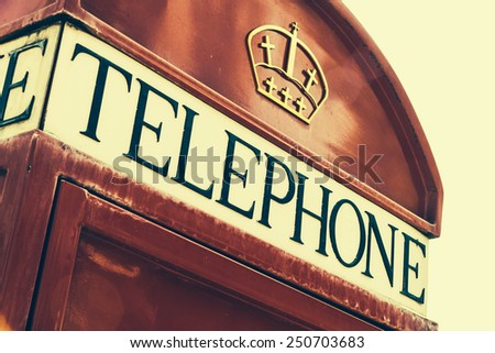 Red telephone box london style - vintage effect filter - stock photo