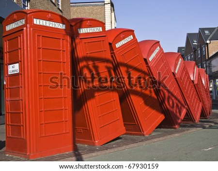 Red telephone in Kingston - stock photo