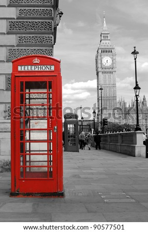 red  telephone in London, Big Ben - stock photo