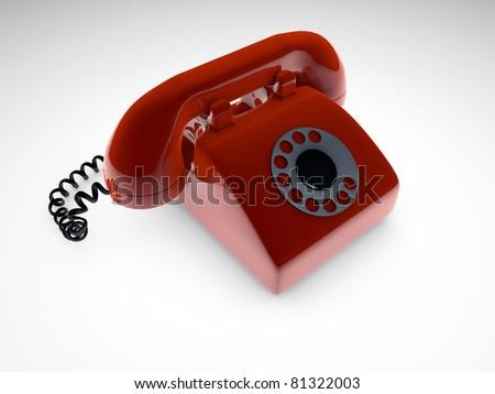 red telephone isolated on white background - stock photo