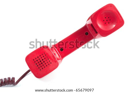 Red telephone receiver on white background - stock photo
