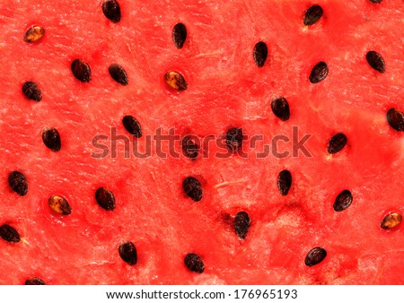 Red texture of sweet watermelon - stock photo