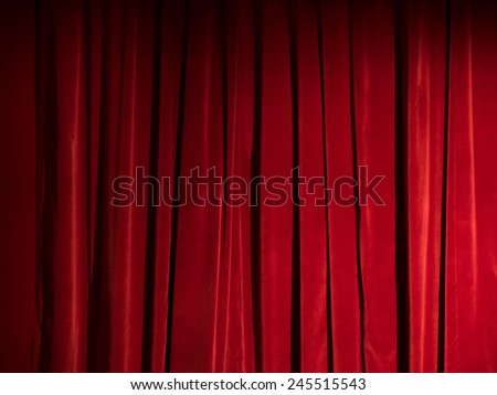 Red theater curtain as background - stock photo