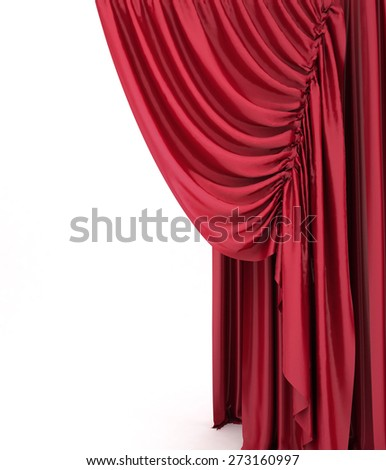 Red theater curtain, background - stock photo
