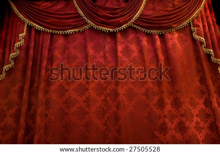 Red theater curtain. Stage show presentation concept - stock photo