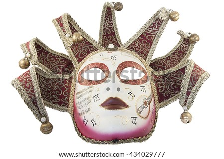 red theatrical mask on a white background - stock photo